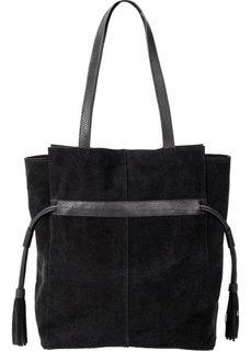 Кожаная сумка с затягивающимися боковыми кисточками (черный) Bonprix