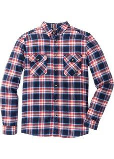 Фланелевая рубашка Slim Fit с длинным рукавом (темно-синий в клетку) Bonprix