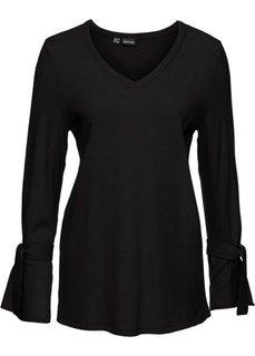 Вязаный пуловер с воланами на рукавах (черный) Bonprix