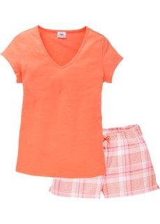 Пижама с шортами (лососевый в клетку) Bonprix