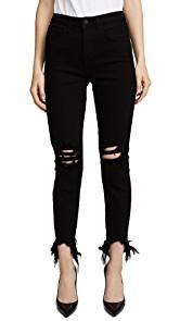 LAGENCE Highline High Rise Skinny Jeans with Hem Destruction