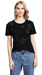 Pam & Gela Destroyed Allover Embellished Stars Tee