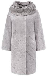Шуба из овчины со съемными трикотажным шарфом Virtuale Fur Collection