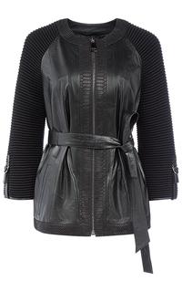 Кожаная куртка, отделанная трикотажем La Reine Blanche