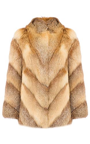 Жакет из меха лисы с отделкой натуральной кожей