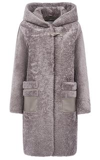 Шуба из овчины с отделкой мехом песца Virtuale Fur Collection