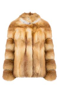 Жакет из меха лисы с отделкой натуральной кожей Золотой олимп