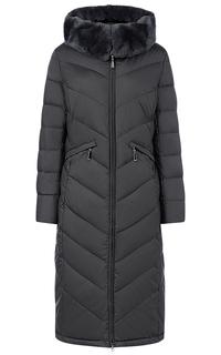 Стеганое пальто на искусственном пуху с отделкой из трикотажа и мехом кролика LE Monique