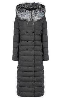 Длинное пальто на искусственном пуху с отделкой из трикотажа и мехом лисы LE Monique