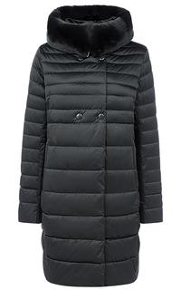Пальто на искусственном пуху с отделкой из трикотажа и мехом кролика LE Monique