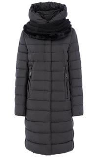 Пальто на искусственом пуху с трикотажным шарфом LE Monique