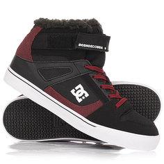 Кеды кроссовки зимние детские DC Shoes Spartan Hi Wnt Black/Dark Red