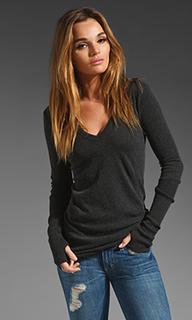 Облегающий свитер из кашемира с манжетами и v-образным вырезом - Enza Costa