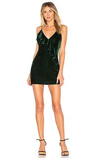 Бархатное платье с воланом ella - Lovers + Friends