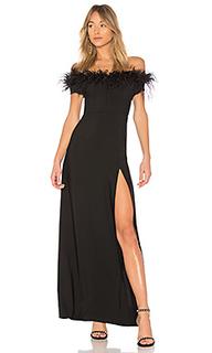 Вечернее платье без бретелей с отделкой из перьев 626 - LPA