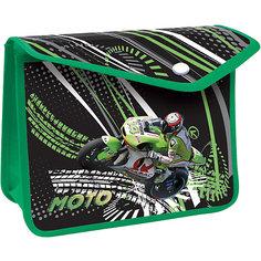 """Пластиковая папка-конверт на кнопке для тетрадей """"Мотоцикл"""" Limpopo"""