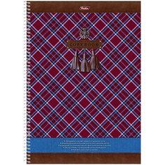 """Тетрадь 100л. А4 клетка на спирали """"Шотландка"""", с карманом, с перфорацией на отрыв Hatber"""