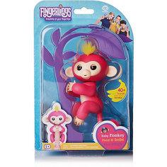Интерактивная обезьянка Fingerlings Белла, 12 см (розовая) WowWee