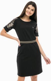 Черное платье с отделкой пайетками Liu Jo Sport