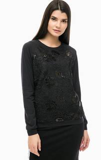 Черный свитшот с кружевной вставкой Liu Jo Sport