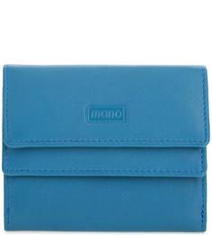 Компактный кожаный кошелек синего цвета Mano