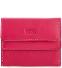 Компактный кожаный кошелек цвета фуксии Mano