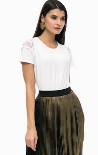 Белая футболка с кружевными вставками Liu Jo
