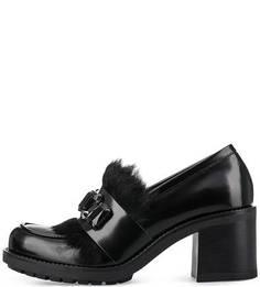 Кожаные туфли с меховой отделкой Tosca BLU