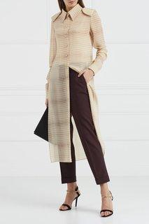 Шелковое платье-рубашка в полоску Esve