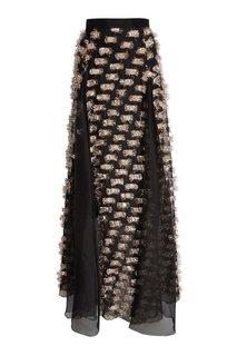 Шелковая юбка-макси черная Esve