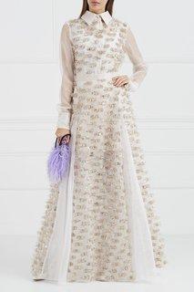 Шелковое платье-макси с люрексом Esve
