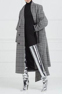 Серебристые ботфорты из кожи Balenciaga