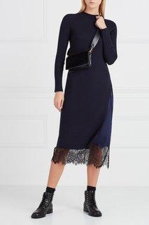 Двойное платье-миди синее Mo&Co