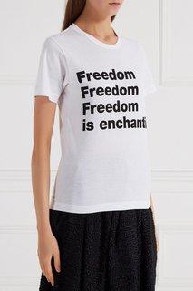Белая футболка с контрастной надписью Comme des Garcons Girl