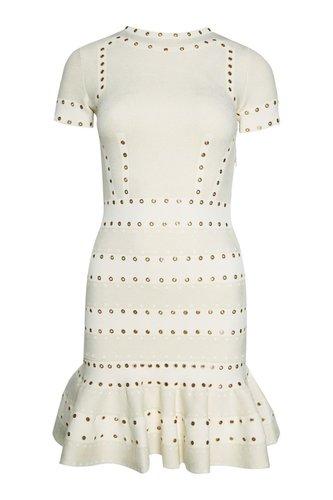 Трикотажное платье с люверсами