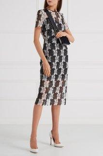 Кружевное черно-белое платье Diane von Furstenberg