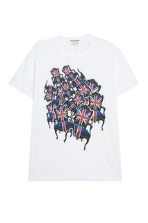 Хлопковая футболка с принтом по центру Junya Watanabe