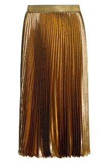 Плиссированная юбка из золотистого шелка Christopher Kane