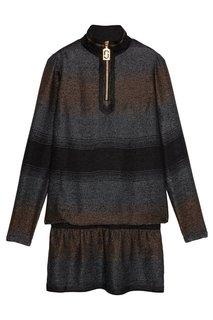 Платье в полоску с люрексом Marc Jacobs