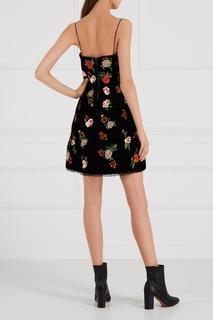 Бархатное платье с цветами Alice + Olivia