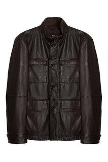 Кожаный пиджак с карманами Hugo Boss
