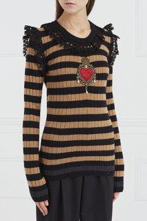 Полосатый джемпер с отделкой Dolce & Gabbana