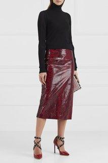 Кожаная юбка с принтом Rochas