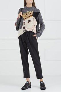 Кожаные кеды с аппликацией Dolce & Gabbana