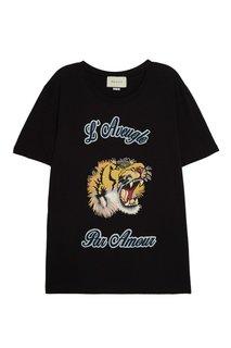 Черная футболка с принтом Gucci