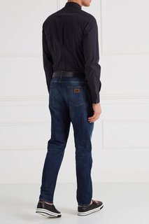 Синяя рубашка с нашивкой Dolce & Gabbana