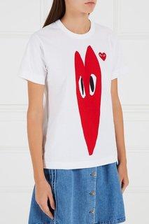 Хлопковая футболка с сердцами Comme Des Garcons Play