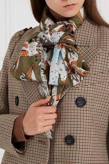 Бежево-зеленый платок с принтом Altopiano Furla
