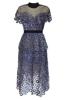 Кружевное платье с сетчатой вставкой Self Portrait