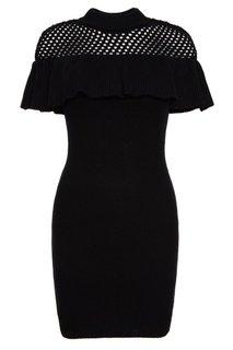 Черное вязаное платье с воланом Self Portrait